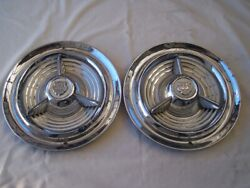 2 Olds Fiesta Hubcaps 53-55 Mercury Ford Rat Rod Hot Street Vintage Custom 32