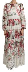 Dolce And Gabbana Dress Silk White Floral Pleated Maxi It46 / Us12 / Xl Rrp 11400