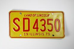 Land Of Lincoln Illinois License Plate Vehicle Car Tag 1970 Sd 4350 Red/yellow