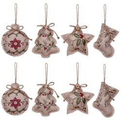 10xrustic Christmas Tree Ornaments Stocking Decorations Burlap Country