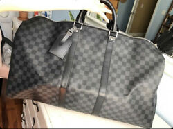 Authentic -louis Vuitton Duffle Bag 55 With Strap Black And Graphite Damier
