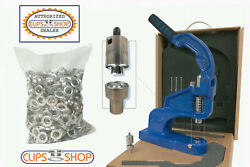 Grommet Machine Eyelet Setter Cstep-2 W/ 500 Sets Xx00 1/8 Grommets And Die