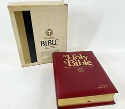Vintage 1985 Heritage Family 2865r King James Version Red Letter Bible W/ Box