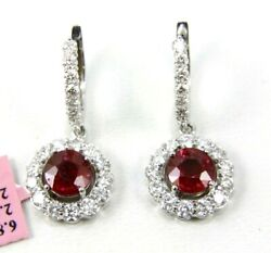 Natural Round Red Ruby And Diamond Halo Drop Snap Earrings 14k White Gold 4.99ct