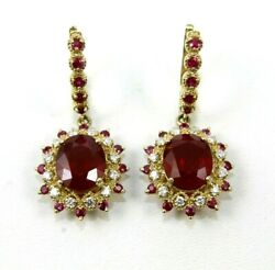 Natural Oval Ruby And Diamond Halo Drop Snap Earrings 14k Yellow Gold 12.90ct