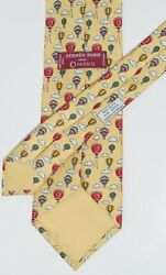 Hermes Paris Hot Air Balloon In The Clouds Above Silk Men's Tie Made France