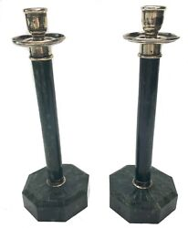 American Green Marble And Silver Mount Candle Sticks Circa 1920