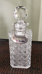 Antique Crystal Decanter With Sterling Silver Brandy Tag