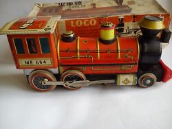 Old Tin Toy Locomotive Train Me-684 Made In China Battery Operated