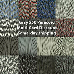 550 Paracord Black Gray Charcoal Silver Colors 100 Ft. Usa Made