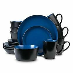 Stoneware Dinnerware Set, Service For 4, Blue And Black