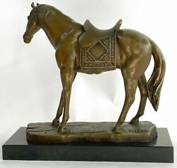 Horse Lover Country Western Saddle Bronze Statue Ranch Farm Memorial Tribute Art
