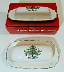 Nikko Happy Holidays Christmas Butter Dish And Lid In Box - Made In Japan