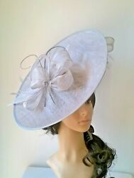 Silver Hatinator..large Oval Disc With Bow And Quills Wedding.races.ascot