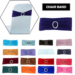 1/10/25 Spandex Stretch Chair Cover Sash Bow Wedding Buckle Slider Sashes Band