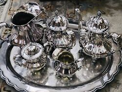 Lancaster Rose Poole Silver Co Silverplate Coffee Tea Serving 7 Pieces Set
