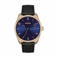 Nixon Menand039s Watch Rose Gold Steel Case Leather Band Blue Dial A4732763
