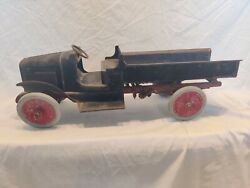 Vintage 1920's Buddy L Pressed Steel Dump Truck With Chain Lift Bed. Eco Ship.