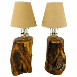 Organic Modern Design Maple Wood Table Lamps, A Pair
