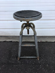 Antique Vtg 1900s Wood Cast Iron Swivel Stool Drafting Industrial Chair