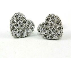 Natural Round Diamond Heart Shape Cluster Stud Earrings 18k Yellow Gold 2.12ct