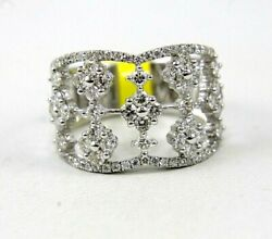 Natural Round Diamond Flower Cluster Wide Ring Band 14k White Gold 1.51ct