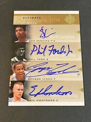 2010 Ultimate Collection Unc Quad Signatures Sam Perkins Ford Lynch Montross /15