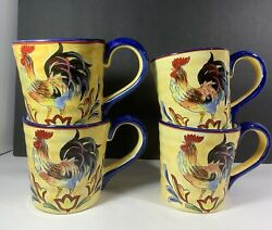 Maxcera Yellow Talavera Rooster Handpainted Large Coffee Cup Mug Country Farm