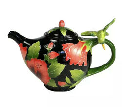 Hibiscus And Hummingbird Hand-painted Ceramic Teapot By Blue Sky Ceramics New