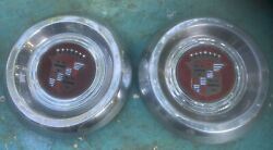 Two 1953 -1955 Cadillac Kelsey Hayes Sabre Or Wire Wheel Hubcaps Oem Rare