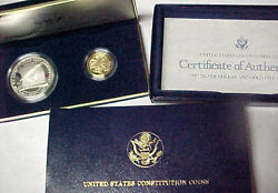 1987-s Us Constitution 2 Coin Proof Set 5 Gold Half Eagle And Silver Dollar