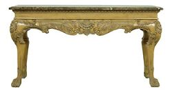 L51676ec Georgian Style Marble Top Blonde Mahogany Console Table