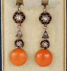 Antique Natural Coral And Diamond Rare Drop Earrings