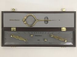 Vintage West Marine Parallel Navigation 15andrdquo Ruler W/ Brass Arms Wooden Box