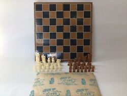 Vintage 32 Piece 1960's Chess Set - Hang On Ivory Brand - Made In Hong Kong