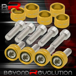 For Universal Honda Acura Exhaust Header Gold Dress Up Cup Bolts M8x1.25mm 9pcs