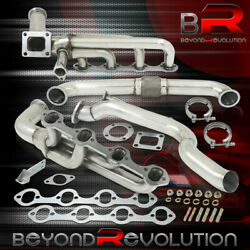 For 1979-1995 Mustang 5.0l V8 Racing T4 Turbo Manifold Exhaust + Cross Down Pipe
