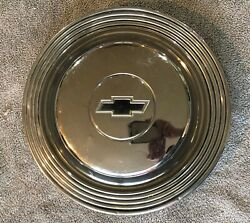 Vintage Early 1960s Chevrolet Dog Dish Chrome Hubcap - Black Chevy Bowtie