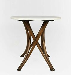 19th/20th Century Bent Wood White Marble Top Table