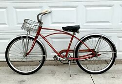 Vintage 1950and039s Boyandrsquos Jc Higgins Sears 24 Cruiser Bicycle Original Red