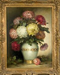 Antique Oil Painting Still Live Dahliaby Klaus Clausmeyer1887-1968