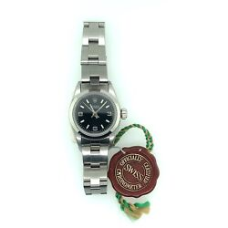 Rolex Oyster Perpetual 24mm Womenand039s Watch Stainless Steel Black Dial