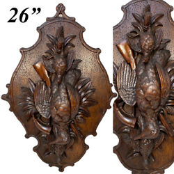 Antique Black Forest Carved 26 Wall Plaque, Superb Fruits Of The Hunt Game Bird