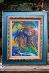 """Original Painting Mexican Cock Rooster Fight Chicken Farmhouse Art Framed 24"""""""