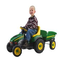 Ride On Toys Peg Perego Farm Tractor And Trailer Pedal Realistic Dashboard Green
