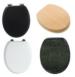 Top Quality Wooden Toilet Seat Mdf With Chrome Hinges Bathroom Universal Fitting