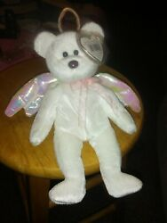 Ty Beanie Babies Halo The Angel Bear Brown Nose 1998 Rare Iridescent Wings