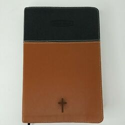 Nelson Nkjv 1982 Leather Bible 2-tone Cover Black/brown 3013bb Red Letter Slim