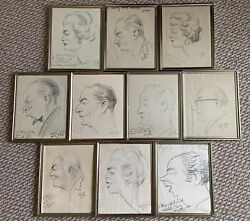 Rare - 10 Original Zito Caricatures, Gifts To Mary And Woolworth Donahue, Signed