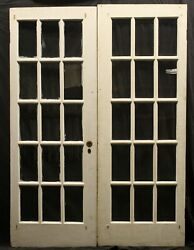 57x79 Pair Antique Vintage Old Wooden French Double Doors 30 Window Wavy Glass